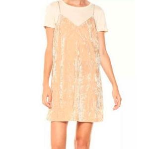 Kensie Crushed Velvet Double Layer Slip Dress